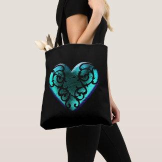 Mit Filigran geschmücktes Goth Eis-Blau-Herz Tasche