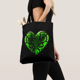 Mit Filigran geschmücktes Goth grünes Herz Tasche