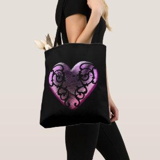 Mit Filigran geschmücktes Goth rosa Herz Tasche