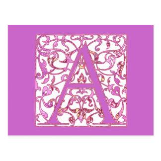 Mit Filigran geschmücktes Rosa ein Monogramm Postkarte
