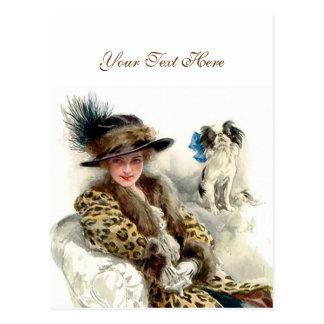 Mit ihrem Hund 2 Postkarte