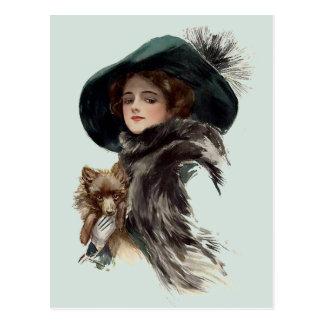 Mit ihrem Hund Postkarte