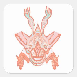 Mit Kapuze Fliegen-Monster - drehen Sie mich, den Quadratischer Aufkleber