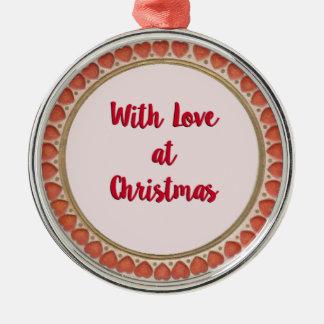 Mit Liebe am Weihnachten Silbernes Ornament