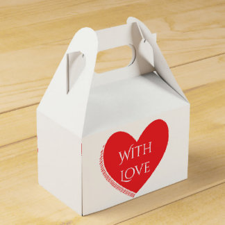 Mit Liebe-roter und weißer Herz-Hochzeit/Party Geschenkschachtel