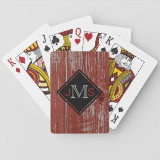 Mit Monogramm 3 rustikale Scheunen-hölzernes Rot Spielkarten