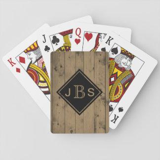 Mit Monogramm 3 Scheunen-Holz-Beschaffenheit der Spielkarten