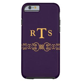 Mit Monogramm Art in dunklem lila und hellem Gold Tough iPhone 6 Hülle