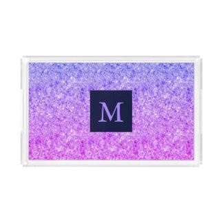 Mit Monogramm blauer und rosa Glitzer Acryl Tablett