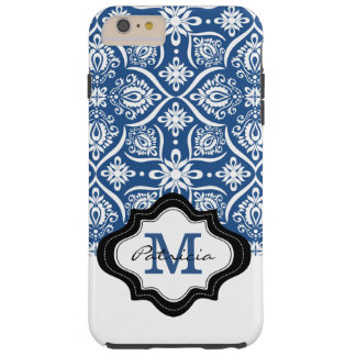 Mit Monogramm blaues Damast-Muster Tough iPhone 6 Plus Hülle