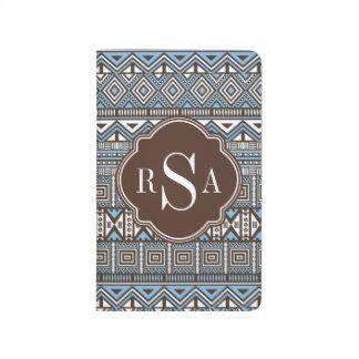 Mit Monogramm blaues Stammes- Muster Browns Taschennotizbuch
