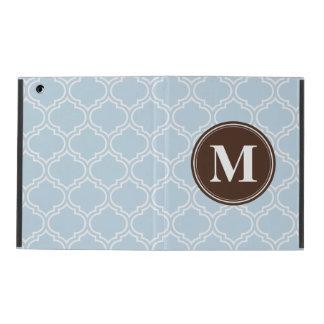 Mit Monogramm Brown-Baby-Blau-Gitter-Muster Hülle Fürs iPad
