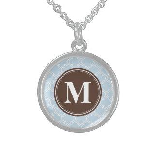 Mit Monogramm Brown-Baby-Blau-Gitter-Muster Sterling Silberkette