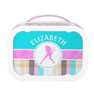 Mit Monogramm das Tennis-SommerTartan des Mädchens Brotdose