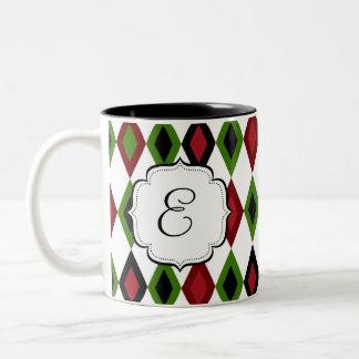 Mit Monogramm Diamant-Muster-Tee-Kaffee-Tasse Zweifarbige Tasse