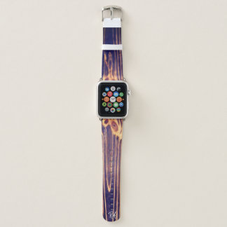 Mit Monogramm dunkler Woodgrain mit Knotholes Apple Watch Armband