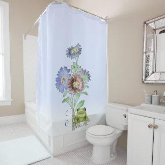 Mit Monogramm Frosch unter den Blumen Duschvorhang