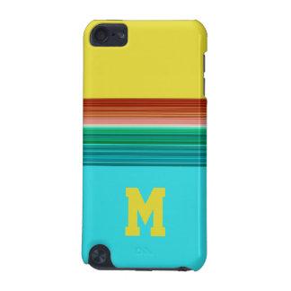Mit Monogramm gelbes blaues gestreiftes iPod Touch 5G Hülle