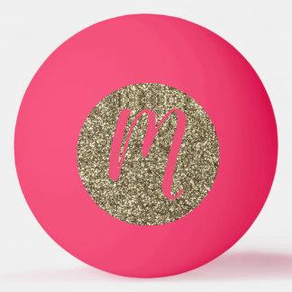 Mit Monogramm Glitzer-elegantes Rosa und Gold Tischtennis Ball