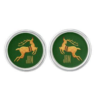 Mit Monogramm goldenes das Ren-Grün der Männer Manschettenknöpfe