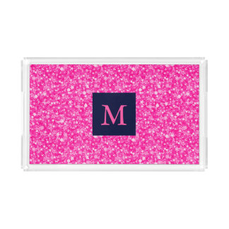 Mit Monogramm heißes Rosa-Glitzer-Weiß-Funken Acryl Tablett