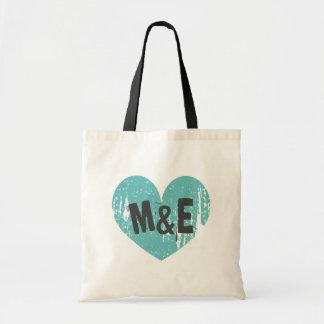 Mit Monogramm Hochzeits-Taschentasche mit Vintagem Budget Stoffbeutel