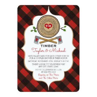 Mit Monogramm Holzfäller-und Jill-Polterabend 12,7 X 17,8 Cm Einladungskarte