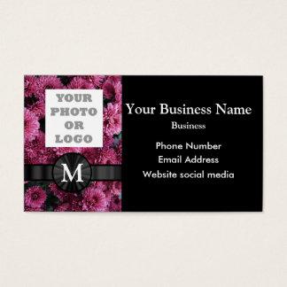 Mit Monogramm hübsche rosa BlumenBlume Visitenkarte