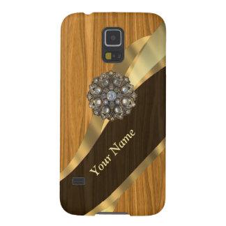 Mit Monogramm hübsches ImitatKiefernholz Galaxy S5 Hülle