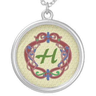 Mit Monogramm Initialen-keltische Entwurfs-Halsket Personalisierte Halskette
