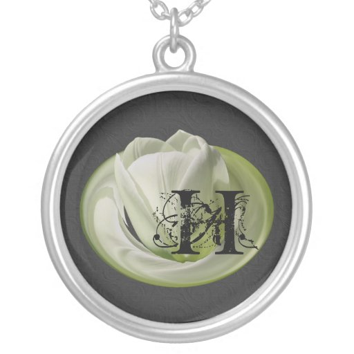 Mit Monogramm Initialen-Tulpe-Blumenhalskette