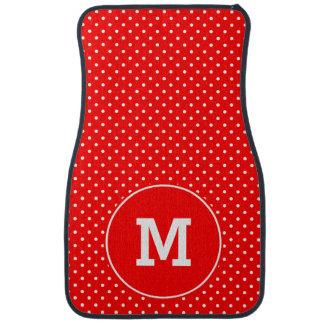 Mit Monogramm kleine rote und weiße Polka-Punkte Auto Fussmatte