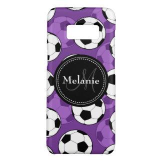 Mit Monogramm lila schwarzes Fußball-Ball-Muster Case-Mate Samsung Galaxy S8 Hülle