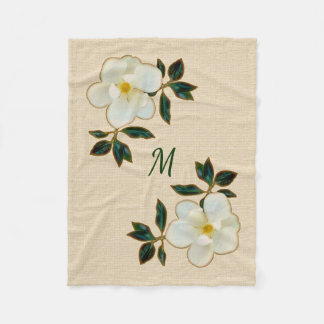 Mit Monogramm Magnolien-Decke, Fleecethrow-Decke Fleecedecke