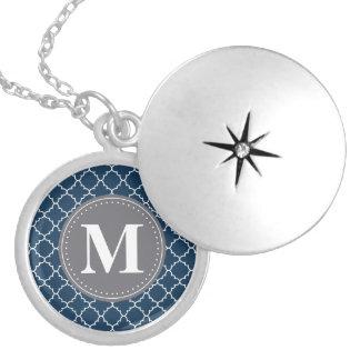 Mit Monogramm marokkanisches Gitter in der Versilberte Kette