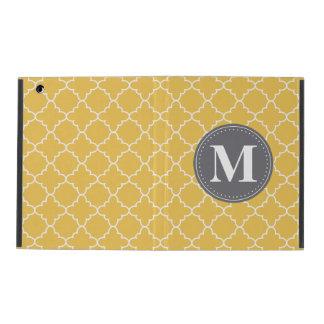 Mit Monogramm marokkanisches Gitter in Gelbem/im Schutzhülle Fürs iPad