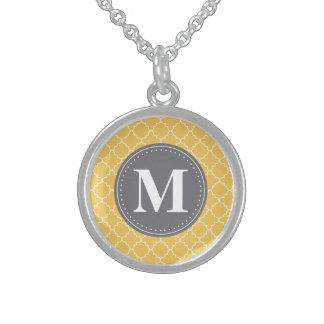 Mit Monogramm marokkanisches Gitter in Gelbem/im Sterling Silberkette