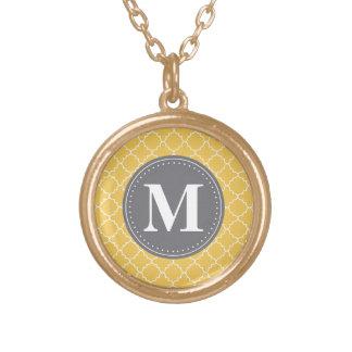 Mit Monogramm marokkanisches Gitter in Gelbem/im Vergoldete Kette