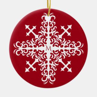Mit Monogramm mittelalterliche Schneeflocke Rundes Keramik Ornament