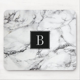 Mit Monogramm moderne graue u. weiße Mousepad