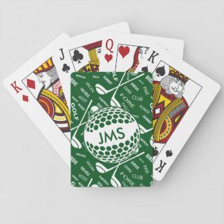 Mit Monogramm Muster für den Golfspieler Spielkarten