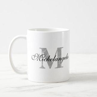 Mit Monogramm Name u. Texturanfangsbuchstabe Kaffeetasse