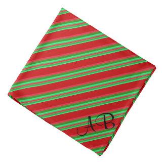 Mit Monogramm noble rote und grüne Streifen Kopftuch