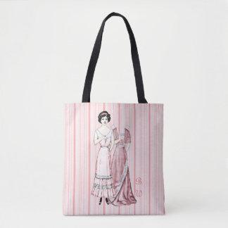 Mit Monogramm Papierpuppen-Dame im Rosa Tasche