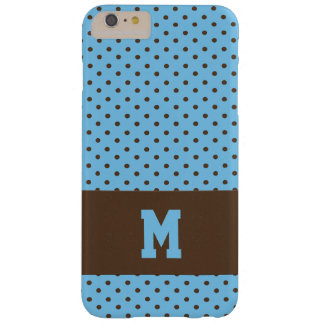 Mit Monogramm Polka-Punkte in Brown auf Blau Barely There iPhone 6 Plus Hülle
