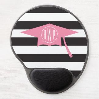 Mit Monogramm rosa Abschluss-Kappe + Schwarze Gel Mouse Matte