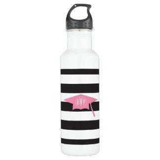 Mit Monogramm rosa Abschluss-Kappe + Streifen Trinkflasche