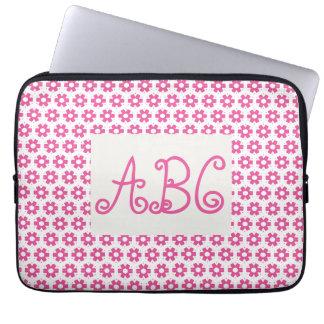 Mit Monogramm rosa Blumen-Laptop-Hülse Laptopschutzhülle