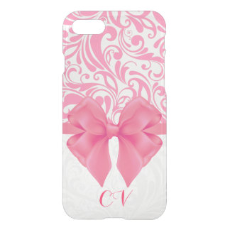 Mit Monogramm rosa Damast und rosa Band iPhone 8/7 Hülle