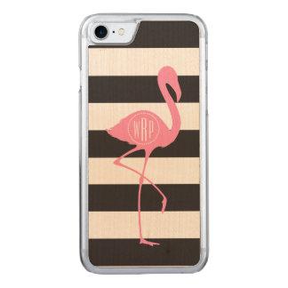 Mit Monogramm rosa Flamingo + Schwarzes + Weiße Carved iPhone 8/7 Hülle